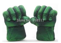 "1 Pair The Incredible Hulk Gloves 11"" Superhero Figure Toys Children Christmas Toy Hulk mitten Cosplay accessories F-0377-GREEN"