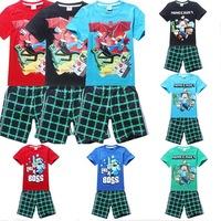 Summer cartoon baby clothes suit boys t-shirts+Pants 2 PCS cartoon  clothes baby clothing cotton clothes suit set