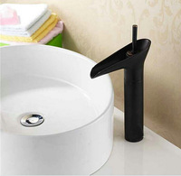 Oil Rubbed Bronze Orb Waterfall Tall Wash Basin Vessels Sink Faucet Mixer Tap with Black Color Kitchen Faucet Y-968