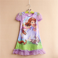 8pcs/lot Children Sofia the first Princess girls short sleeve nightgowns