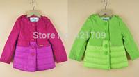 Free shipping 1 piece Autumn winter girls fashion long round collar padded coat