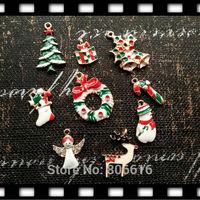 27Pcs/lot Mix 9 Styles Christmas Style Glazing & Glass Rhinestone Pendants KC gold Alloy Charms Jewelry Charms