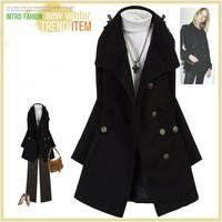 casacos femininos new 2014 women coat fashion women's slim  Cashmere blended uniformed collar winter coat women woollen coat