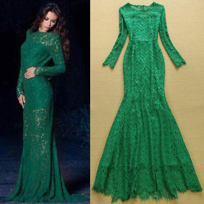 Turmec » green long sleeve evening dresses