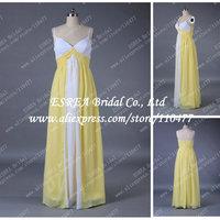 Brides Maid Dresses Elegant Empire Chiffon Long Bridesmaid Dress White and Yellow with Sapthetti Straps T1062