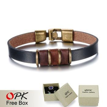 Опк ювелирный мода модный черный кожаный человек браслеты простой дизайн 21.5 см ...