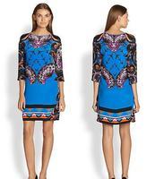 Best Quality New European Italy Fashion 2015 Spring Women Designer Print 3/4 Sleeve 100% Jersey Silk Dress Knee Length Plus XXL