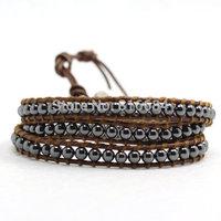 Top Quality Vintage Natural Hematite Stone 3 Layer Wrap Bracelets For Men Beads Leather Bracelet Wholesale