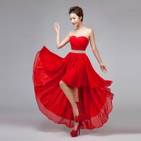 Red Evening Dress 2015 New Arrival Bride Sweetheart Chiffon Asymmetrical Big Hem Plus Size Bandage Party Dress Formal Dress
