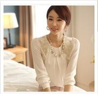 2014 women office lady Fashion Elegant white Lace Embroidered long sleeve chiffon blouse Tops shirt free shipping