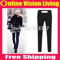 Plus Size  S M L XL XXLNew Hi-Q 2015 Fashion OL Leggings Pants High waist Spliced boot pants Good Look Women Elastic PantsA0715