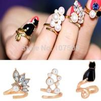 New 3Pcs Set Crystal Pearl Cat Midi Twist Split Finger Nail Rings Cute Charm
