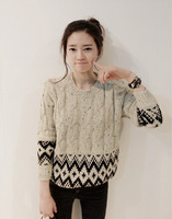 Korean round neck twist retro geometry printed pullover sweater cute female college style bottoming sweater SW122