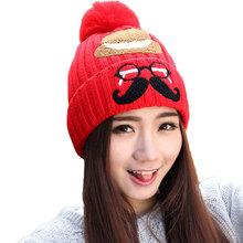 Women's Winter Lovely Warm Handmade Thick Crochet Glasses Beard Mustache Knitted Beanie Hat Cap With Cute Ball(China (Mainland))