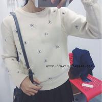fashion western style cute slim embroidery eye long sleeve woman's Casual pullover knitwear Sweaters SW101