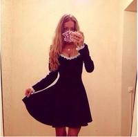 New Women Big Rond collar Lace Long sleeve vestidos Winter Causal dress size S M L XL