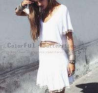 Women 2 pieces short sleeve Summer Casual dress Tops + dress Crew neck Short Blouse vestidos