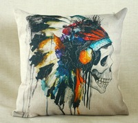 Vintage Linen Pillow Cushion Cover Throw decorative cushion covers 45cm*45cm Colorful Watercolor painting Skull Pillow Case