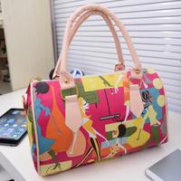 Fashion City Ladies Pattern Built-in Pocket Zipper PU Leather Tote Handbag Single Shoulder Bag + Strap for Women Girls