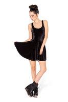 2015 Europe and America women dress spring pure black casual dress velvet vest pleated dresses F88