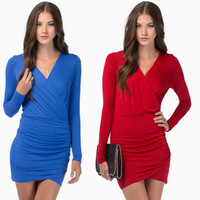 2015 high-end women dress fashion style newest sexy package hip V-neck dress F88