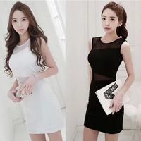 2015 new women dress temperament gauze sexy package hip nightclub Slim sleeveless vest dress F88