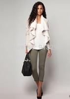 Fashion 2014 women's slim imitation chamois thermal outerwear female faux short trench