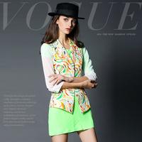 14122332 fashion diamond buckle colorful rose print slim suit jacket