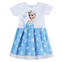 Casual tutu dress girl New arrival short sleeve girls clothing Frozen Elsa dress For Girl Princess Dresses party costume HA093