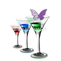 Romantic Purple 50 Pcs Butterfly Cut-out Place Escort Wedding Party Wine Glass Paper Cards K5BO