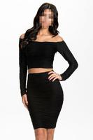 New Arrival Women Dress Set ! Subtle Ripples Textured Off-shoulder Skirt Set Long-sleeve Top and Hip Skirt Sets B5133 Fshow