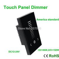America Standard Low-voltage Touch Panel Dimmer Controller DC12-24V 8A/CH 12V/96W, 24V/192W adjust brightness of led strip