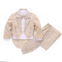 Beige child tuxedo piano performance wear prom formal dress child 5-piece Kid Boys/Girls Clothing set children Blazer suits
