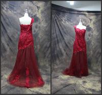 High-Grade One Shoulder Sexy Sleeveless Romantic Lace Evening Dresses 2014 Party Dress vestido de festa Evening Dress with Train