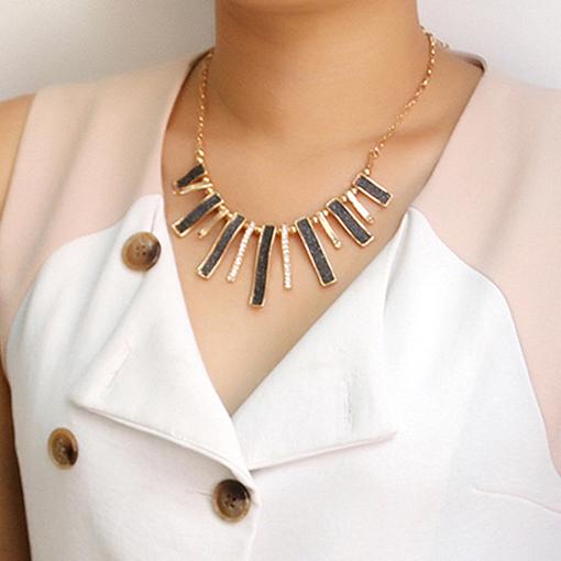 New Brand Design Enamel Bib Beads Scrub Plated Gold Chain Choker Necklace Pendants Fashion Jewelry Women