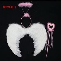 3pcs/set Princess Performance props chrismas halloween supplies pink angel feather wings birthday headwear headband wand set
