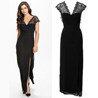 Women New Sleeveless V-shape Backless Lace Black Cocktail Evening Party Dresses