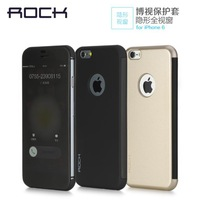 """Rock Brand Sleep Magnetic invisible Windows Luxury Clear Filp PC+TPU Cover Case For Apple iphone 6 4.7"""" Full Window View"""