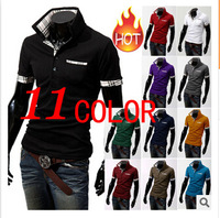 plus size S-XXXL 2015 fashion short sleeve t shirts for men slimming plaid tees tops casual teeshirts summer polo shirts