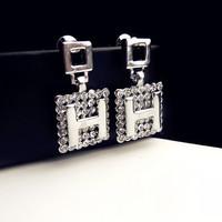 2014 new fashion stud earrings for women,good quality Elegant brand letter H earrings with zircon,stud earrings 18K gold plated