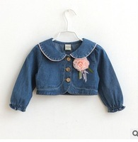 5pcs/lot kids girls new 2015 spring fall denim jeans flower cardigan tops children fashion peter pan collar flower outerwear