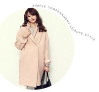 The new autumn/winter ladies type cocoon loose woolen cloth coat long fur coat H3097