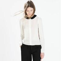 2015 Spring New Women Long Sleeve Cheap Chiffon Peter Pan Collar Transprent Blouse Stylish Good Quality Lay Shirt Fashion Tops