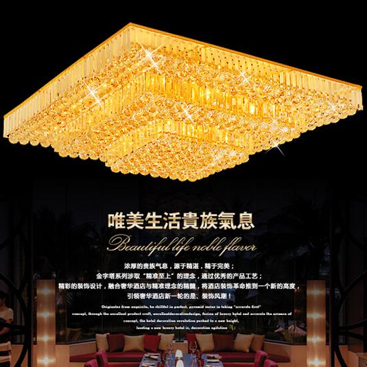 Factory square crystal flush mount led ceiling light livingroom light luxury modern crystal surface mounted ceiling light(China (Mainland))
