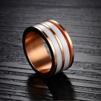 New Trends Fashion Jewelry Custom Stainless Steel Exquisite Ceramic Ring 2015