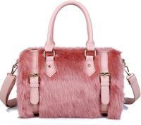 Barrel-Shaped Women Leather Handbags Rabbit Fur Diagonal Portable Bags for Women Zipper Casual Shoulder Bags Fashionable Totes