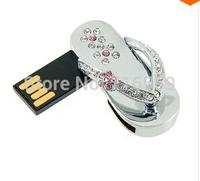 New Fashion USB Flash drive Memory Stick U Disk Pendrive pen drive metal crystal diamon slippers gift 8GB 16GB 32GB 64GB