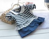 2015 New Free Shipping Spring Cartoon Pattern Long Sleeve Stripe Cowboy Splice Baby Skirt Lovely Cotton Cardigan Baby Girl Dress