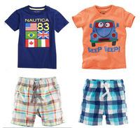 2015 Baby Boys Clothing Sets Retail Summer Beach Set Leisure Sports Suit Children's Clothing Boy's T-Shirt+Short Pants c15