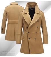 FREE SHIPPING Men Bussines Wool Coat  Winter Casual Men'sOutwear Long Design Double Breasted Wool Men Coat M~XXL